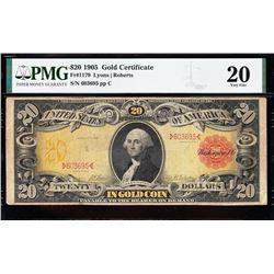 1905 $20 Technicolor Gold Certificate PMG 20