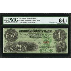 1860's $1 Brattleboro VT Note PMG 64EPQ