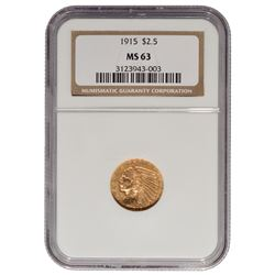 1915 $2.5 Indian Head Gold Coin NGC MS63