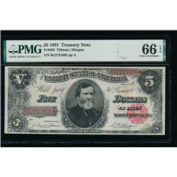 1891 $5 Treasury Note PMG 66EPQ