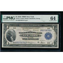 1918 $1 New York FRBN PMG 64