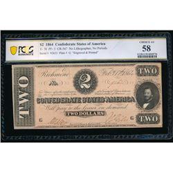 1864 $2 T-70 Confederate PCGS 58