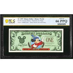 1997 $1 Sorcerer 25th Anniversary Disney Dollar PCGS 66PPQ