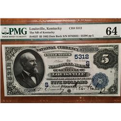 1882 $5 Louisville KY National Bank Note PMG 64