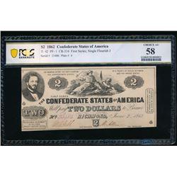 1862 $2 T-42 Confederate PCGS 58
