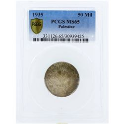 1935 Palestine 50 Mils Silver Coin PCGS MS65