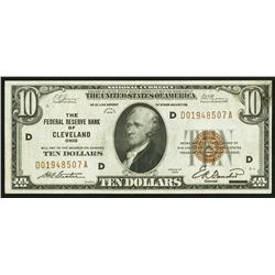 1929 $10 Fr. 1860-D Cleveland FRBN