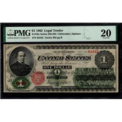 1862 $1 Legal Tender Note PMG 20