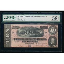 1864 $10 T-68 Confederate PMG 58EPQ