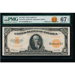 1922 $10 Gold Certificate PMG 67EPQ