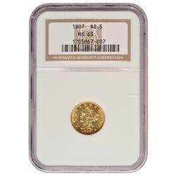 1907 $2.5 Liberty Gold Coin NGC MS63