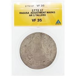 1772 Ragusa Adjustment Marks 1 Tallero Coin ANACS VF35