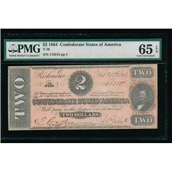 1864 $2 T-70 Confederate States of America PMG 65EPQ