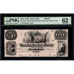 1850's $5 New York NY Proof Note PMG 62