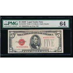 1928F $5 Legal Tender STAR Note PMG 64