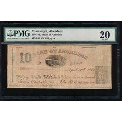 1862 $10 Aberdeen Obsolete Note PMG 20