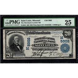 1902 $20 St Louis MO PMG 25