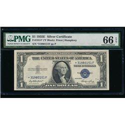 1935E $1 STAR Silver Certificate PMG 66EPQ