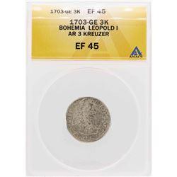 1703-GE Bohemia Leopold I AR 3 Kreuzer Coin ANACS XF45
