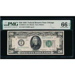 1928 $20 Chicago FRN PMG 66EPQ