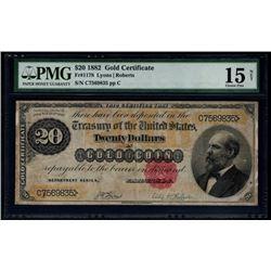1882 $20 Gold Certificate PMG 15NET
