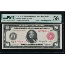 1914 $20 Red Seal New York Federal Reserve Note PMG 58