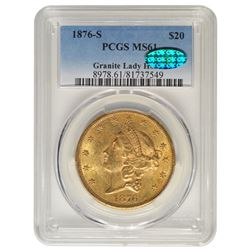 1876-S $20 Double Eagle Liberty Gold Coin PCGS MS61 CAC