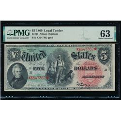 1869 $5 Legal Tender Note PMG 63