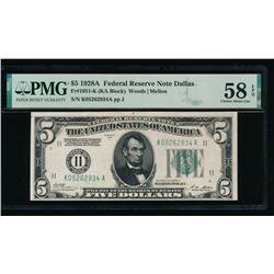 1928A $5 Dallas FRN PMG 58EPQ