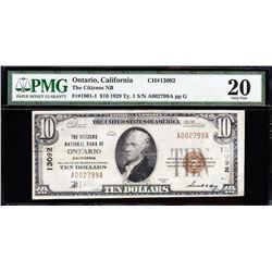 1929 $10 Ontario CA National Bank Note PMG 20
