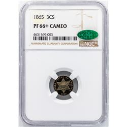 1865 Three Cent Silver Coin NGC PF66+ Cameo CAC