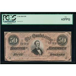 1864 $50 T-66 Confederate Note PCGS 62PPQ