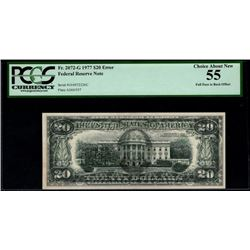 1977 $20 Full Face to Back Offset Error Note PCGS 55