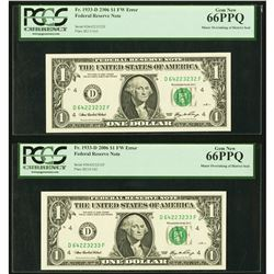 2006 $1 ERROR Overinking Consecutive FRN PCGS 66PPQ