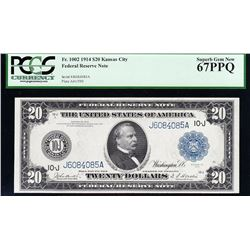 1914 $20 Kansas City FRN PCGS 67PPQ