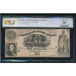 1861 $10 Confederate States of America T-30 PCGS 30