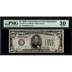 1934B $5 STAR Philadelphia FRN PMG 30