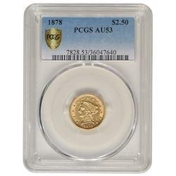 1878 $2.5 Liberty Gold Coin PCGS AU53