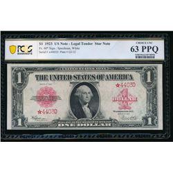 1923 $1 STAR Legal Tender Note PCGS 63PPQ