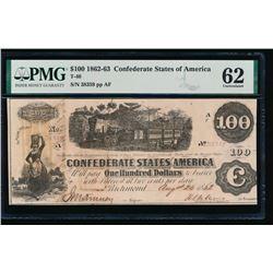 1862-63 $100 T-40 Confederate PMG 62