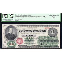 1862 $1 Legal Tender Note PCGS 58