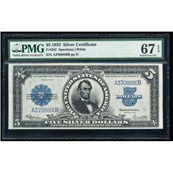 1923 $5 Lincoln Porthole Silver Certificate PMG 67EPQ