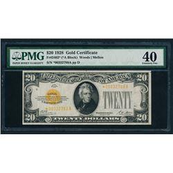 1928 $20 STAR Gold Certificate PMG 40
