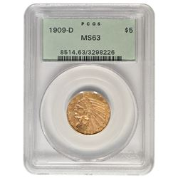 1909-D $5 Indian Head Gold Coin PCGS MS63