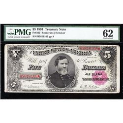 1891 $5 Treasury Note PMG 62
