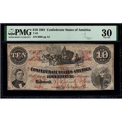 1861 $10 T-23 Confederate States of America PMG 30