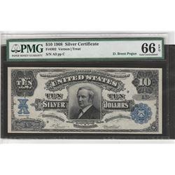 1902 $10 Tombstone Silver Certificate PMG 66EPQ