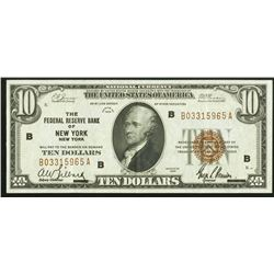 1929 $10 Fr. 1860-B New York FRBN