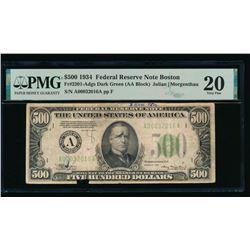 1934 $500 Boston FRN PMG 20