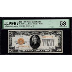 1928 $20 Gold Certificate PMG 58